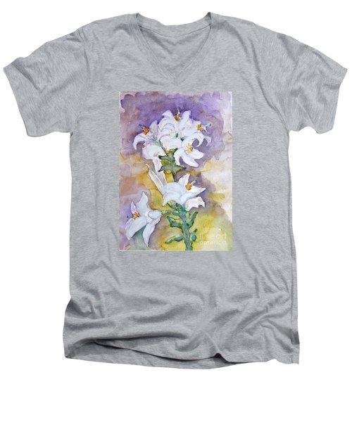 White Lilies Men's V-Neck T-Shirt