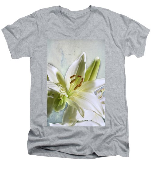 White Lilies On Blue Men's V-Neck T-Shirt by Jacqi Elmslie