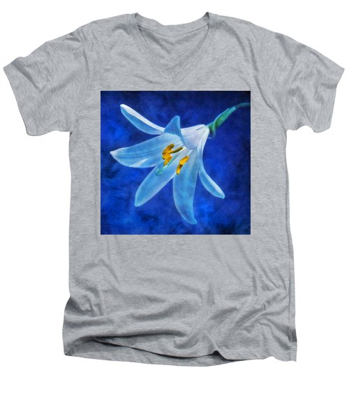 White Lilly Men's V-Neck T-Shirt by Ian Mitchell