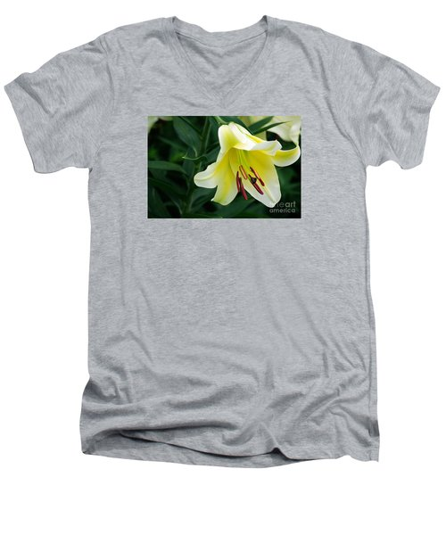 White Lily  Men's V-Neck T-Shirt