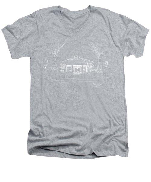 white lines on transparent background 10.28.Islands-8 Men's V-Neck T-Shirt