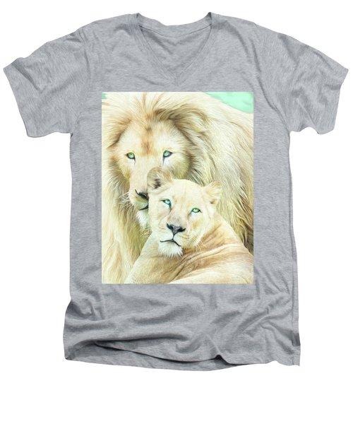 Men's V-Neck T-Shirt featuring the mixed media White Lion Family - Mates by Carol Cavalaris