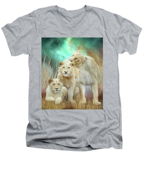Men's V-Neck T-Shirt featuring the mixed media White Lion Family - Mothering by Carol Cavalaris