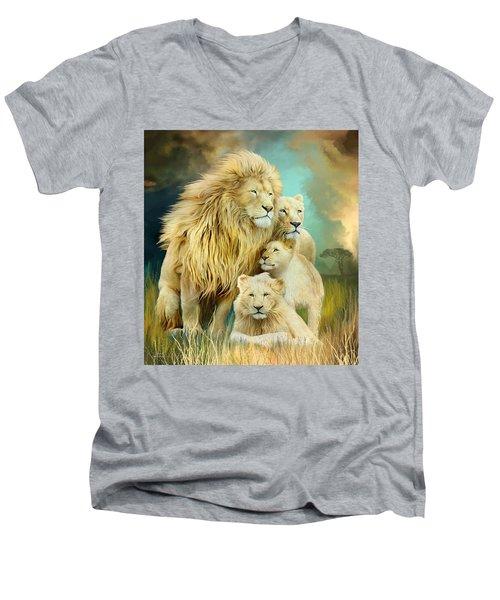 Men's V-Neck T-Shirt featuring the mixed media White Lion Family - Unity by Carol Cavalaris