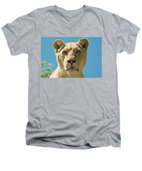 White Lion Men's V-Neck T-Shirt