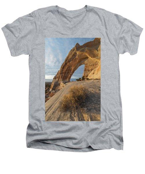 Men's V-Neck T-Shirt featuring the photograph White Mesa Arch by Dustin LeFevre