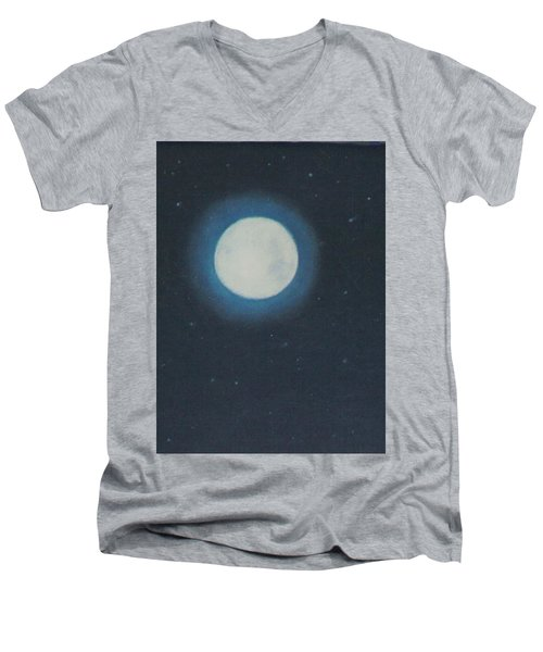 White Moon At Night Men's V-Neck T-Shirt