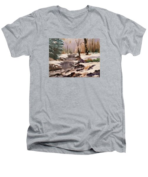 White Mountains Creek Men's V-Neck T-Shirt by Larry Hamilton