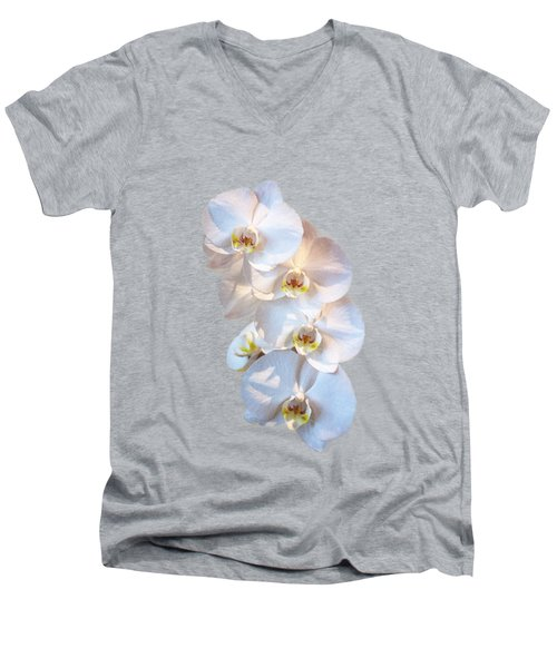 White Orchid Cutout Men's V-Neck T-Shirt by Linda Phelps