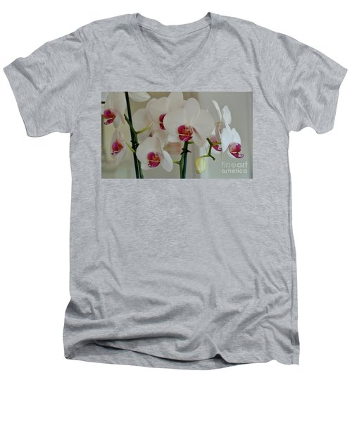 White Orchid Mothers Day Men's V-Neck T-Shirt by Marsha Heiken