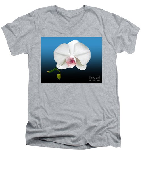 Men's V-Neck T-Shirt featuring the digital art White Orchid by Rand Herron