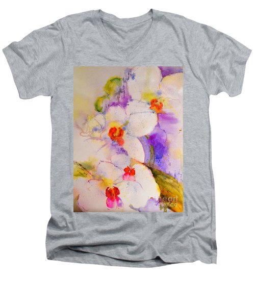 White Orchids Men's V-Neck T-Shirt by Betty M M Wong