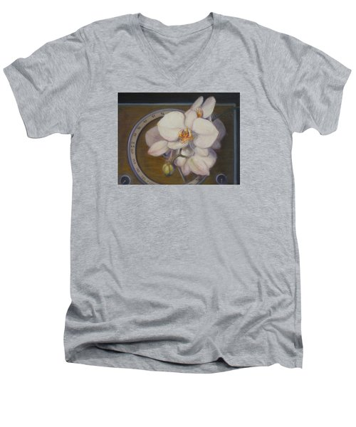 Men's V-Neck T-Shirt featuring the painting White Orchids by Donelli  DiMaria