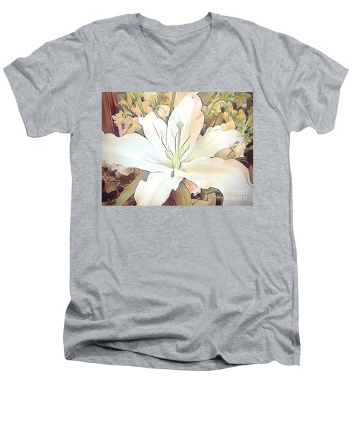 White Painted Lily Men's V-Neck T-Shirt