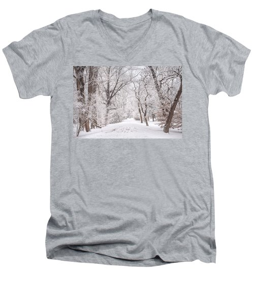 Men's V-Neck T-Shirt featuring the photograph White Path To Winter Dream by Jenny Rainbow