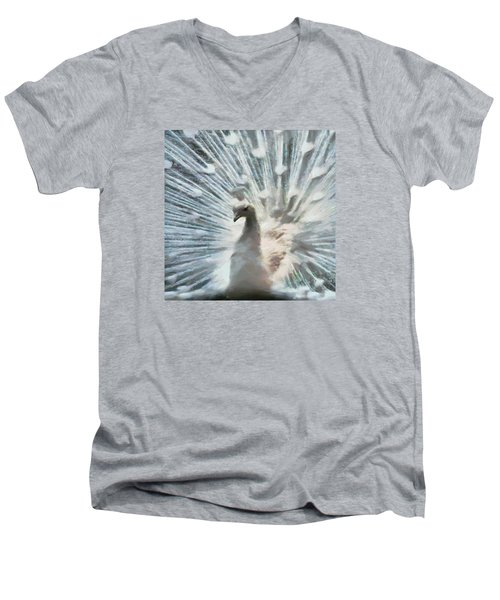 Men's V-Neck T-Shirt featuring the digital art White Peacock by Charmaine Zoe