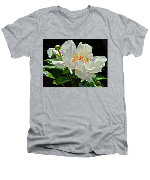 White Peony Men's V-Neck T-Shirt