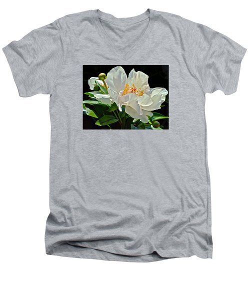 White Peony Men's V-Neck T-Shirt
