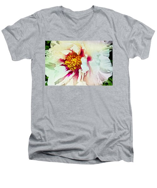 White Peony Men's V-Neck T-Shirt by Joan Reese