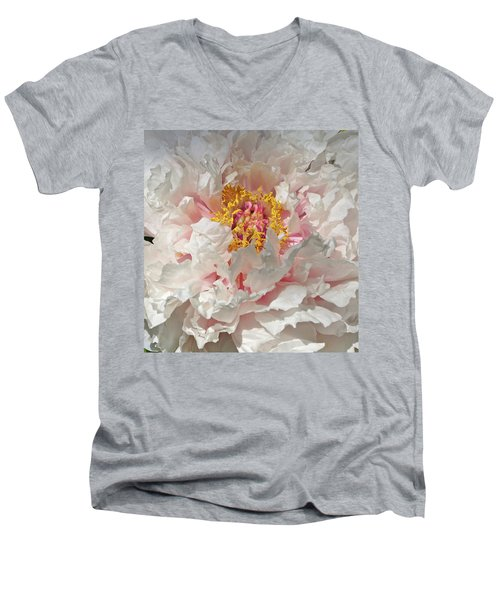 Men's V-Neck T-Shirt featuring the photograph White Peony by Sandy Keeton