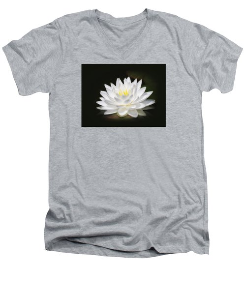 White Petals Glow - Water Lily Men's V-Neck T-Shirt