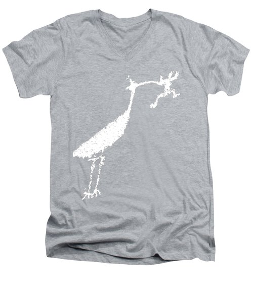 White Petroglyph Men's V-Neck T-Shirt