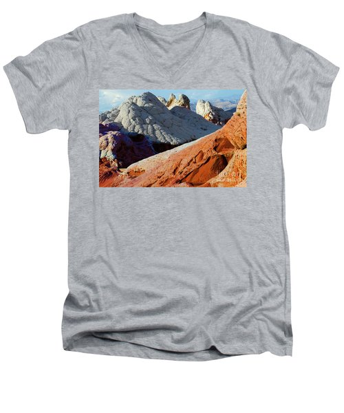 Men's V-Neck T-Shirt featuring the photograph White Pocket 34 by Bob Christopher