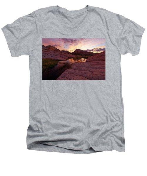White Pocket Sunset Men's V-Neck T-Shirt by Jonathan Davison