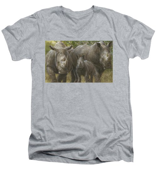 White Rhino Family - The Face That Only A Mother Could Love Men's V-Neck T-Shirt