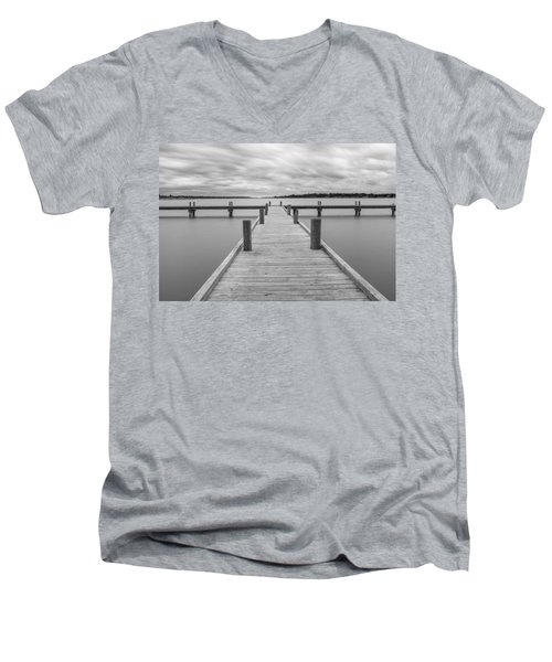White Rock Lake Pier Black And White Men's V-Neck T-Shirt