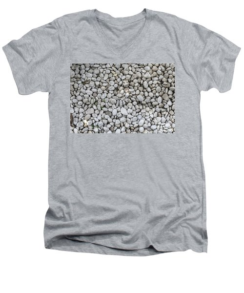 Men's V-Neck T-Shirt featuring the photograph White Rocks Field by Jingjits Photography