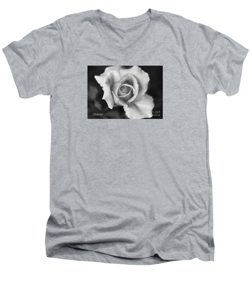 White Rose Against Black Men's V-Neck T-Shirt