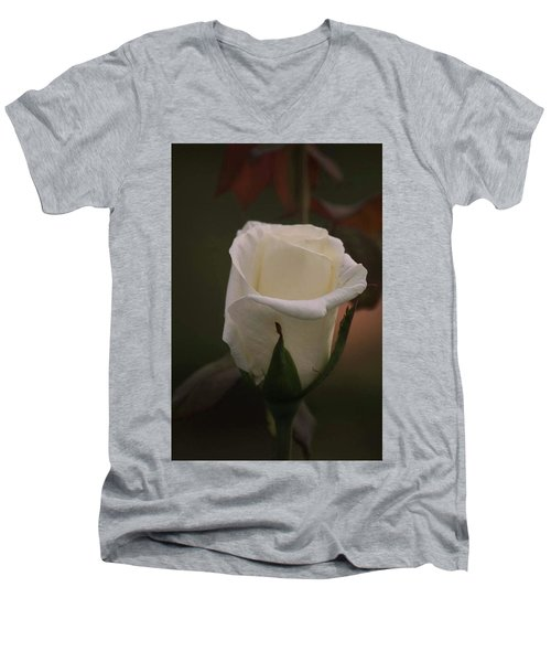 Men's V-Neck T-Shirt featuring the photograph White Rose by Donna G Smith