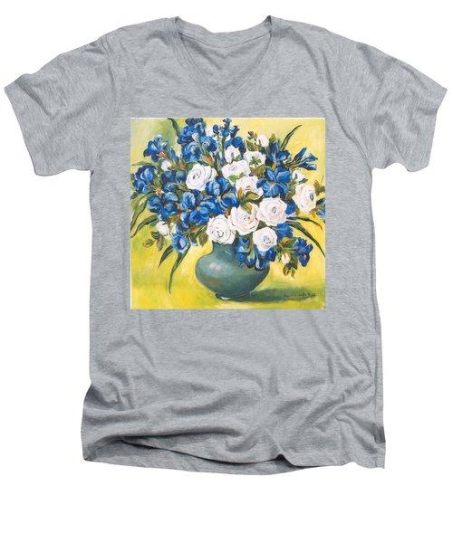 White Roses Men's V-Neck T-Shirt by Alexandra Maria Ethlyn Cheshire
