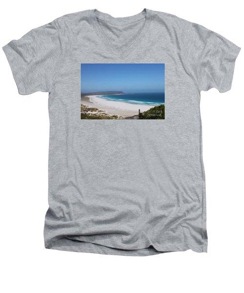 White Sand Beach Men's V-Neck T-Shirt by Bev Conover