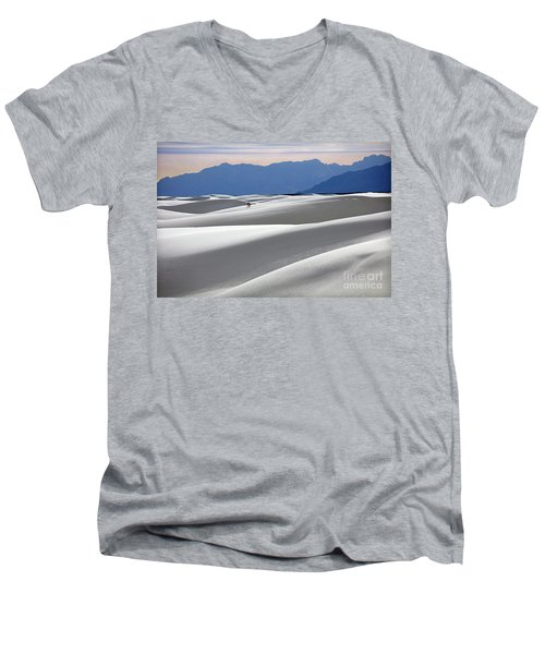 Men's V-Neck T-Shirt featuring the photograph White Sands Hikers by Martin Konopacki