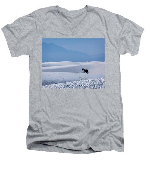 White Sands Horse And Rider #5b Men's V-Neck T-Shirt