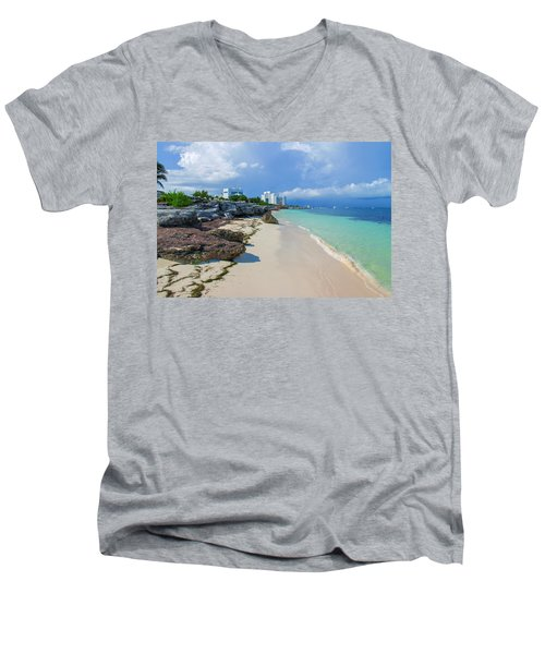 White Sandy Beach Of Cancun Men's V-Neck T-Shirt