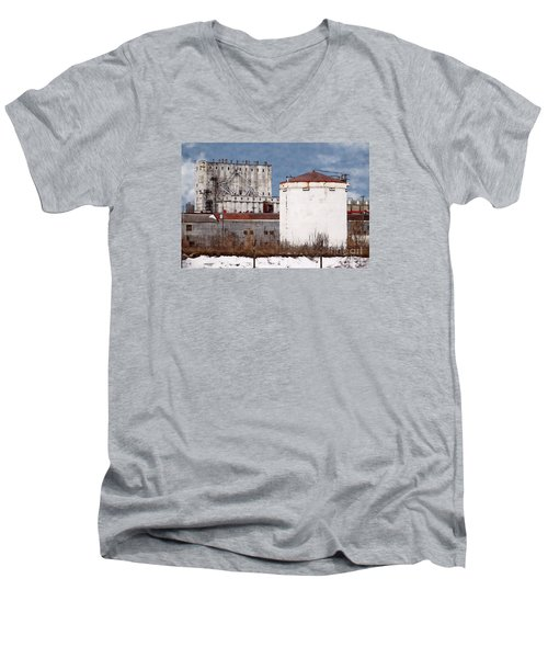White Silo And Grain Elevator Men's V-Neck T-Shirt by David Blank