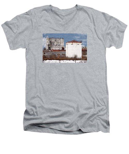 White Silo And Grain Elevator Men's V-Neck T-Shirt