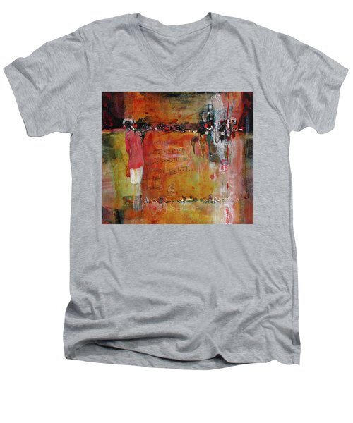 White Skirt Men's V-Neck T-Shirt