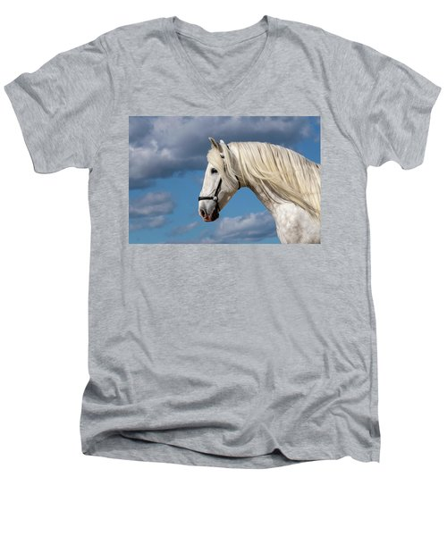 White Stallion Men's V-Neck T-Shirt