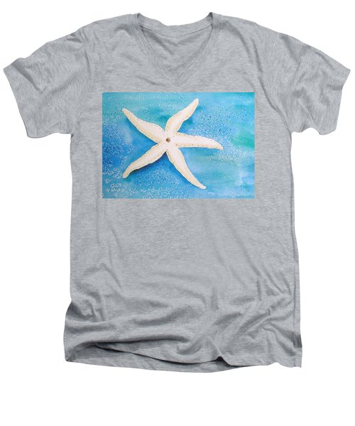 Men's V-Neck T-Shirt featuring the painting White Starfish by Patricia Piffath