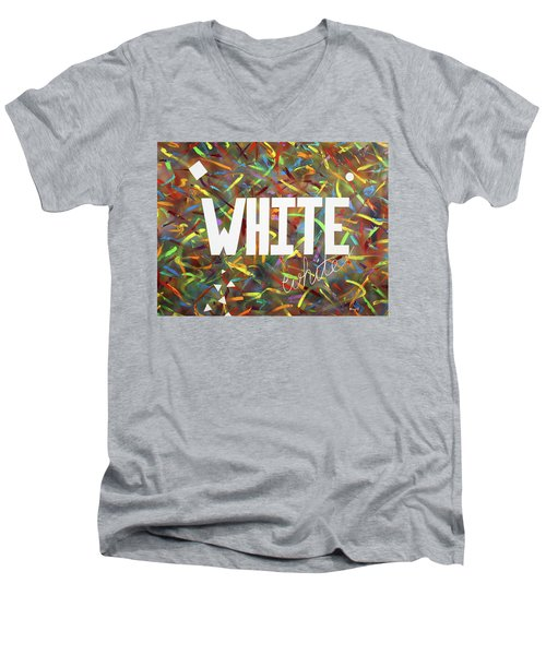 White Men's V-Neck T-Shirt by Thomas Blood