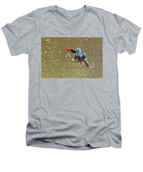 White-throated Kingfisher Men's V-Neck T-Shirt