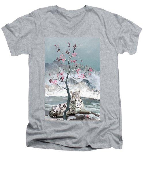 White Tiger And Plum Tree Men's V-Neck T-Shirt