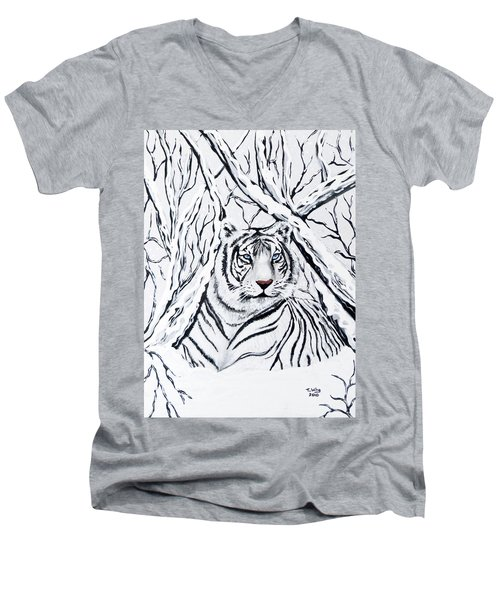 Men's V-Neck T-Shirt featuring the painting White Tiger Blending In by Teresa Wing