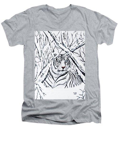 White Tiger Blending In Men's V-Neck T-Shirt