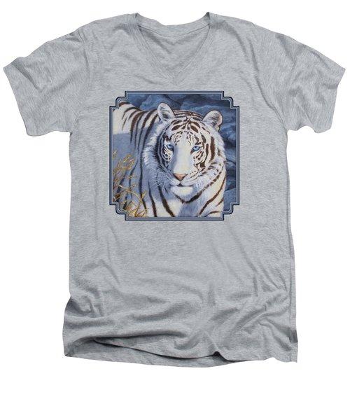 White Tiger - Crystal Eyes Men's V-Neck T-Shirt by Crista Forest
