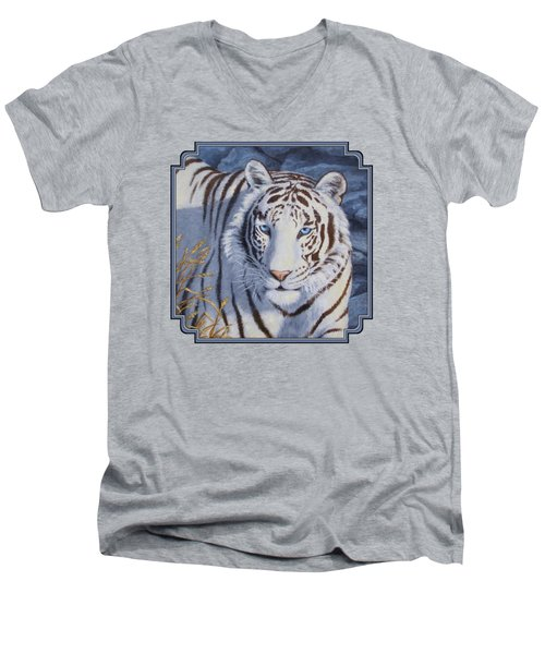 White Tiger - Crystal Eyes Men's V-Neck T-Shirt